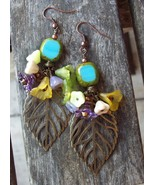 Beautiful bronze floral artisan Earrings~Fall Earrings~Autumn Jewelry~Gemstone J - $15.00