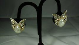 Faux Baroque Pearl & Aurora Borealis Earrings - $9.90