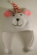 Toys R Us Santa Bear Character Hat Lot 2 White Christmas Holiday Fleece ... - $2.39