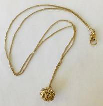 "Pendant Necklace Costume Jewelry Gold-tone Round Cage with Rhinestones 32"" - $8.27"