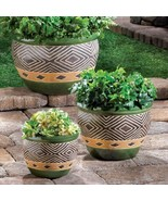 3 Decorative Planter Pot Set in Shades of Jade & Sand Drain Hole in Bottom - $45.49