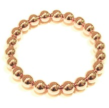 18K YELLOW GOLD BRACELET, SEMIRIGID, ELASTIC, BIG 8 MM SMOOTH BALLS SPHERES - $1,780.00