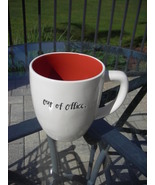 Rae Dunn Coffee Tea Mug Cup OUT OF OFFICE Red Inside Interior New - $11.00