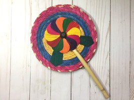 Mexican Folding Hand Fan Beautiful Colorful Handmade Woven Bamboo Souven... - $8.90