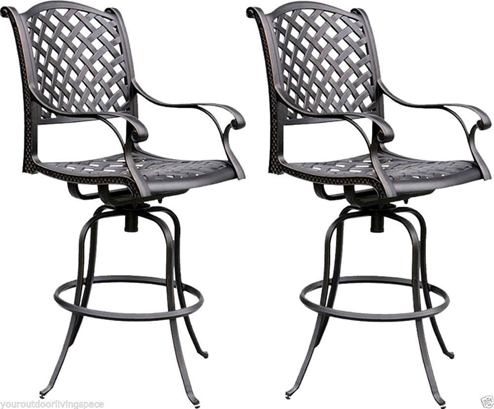 Patio bar stool outdoor living cast aluminum furniture set of 2 swivels Bronze