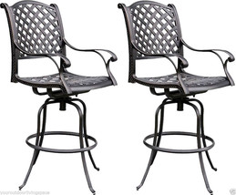 Patio bar stool outdoor living cast aluminum furniture set of 2 swivels Bronze image 1