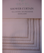 Hotel White Matelasse with Silver-Gray Embroidered 5-Line Border Shower ... - $39.99