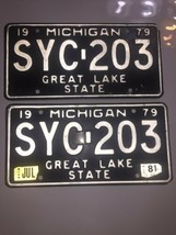 Vtg Lot 2 1979 Michigan License Plate Plates Matched Pair SYC-203  - $42.06