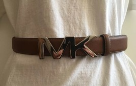 MICHAEL KORS BELT LUGGAGE BROWN MK LOGO BUCKLE SILVER MSRP $48 - $46.99