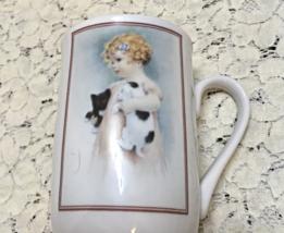 Vintage Bessie Pease Gutmann Collectible Coffee Mug // Girl With Kitten & Puppy - $8.00