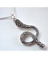 Marcasite Serpent Necklace 925 Sterling Silver Corona Sun Jewelry snake - $16.73