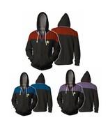 Star Trek Voyager Commander Captain Zipper Sweatshirt Costume Men Hoodie... - $35.98
