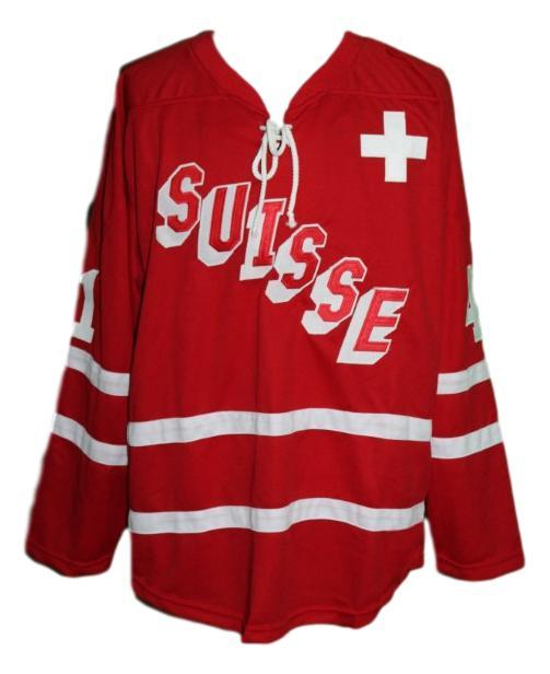 Custom name   team switzerland hockey jersey red florence schelling   1