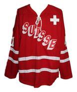 Custom Name # Switzerland Retro Hockey Jersey New Red Schelling #41 Any ... - $54.99+