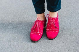Women Red Oxford Full Suede Leather Derby Laces Handcrafted Stylish Dress Shoes - £105.17 GBP - £145.62 GBP