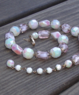 Vintage Crown Trifari Pink Lavender Art Glass Necklace - $150.00