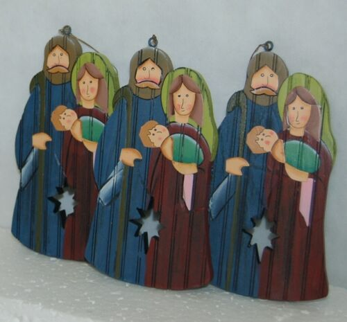 Dicksons CHO 312 Mary Joseph Baby Jesus Wood Christmas Ornament 3 Set