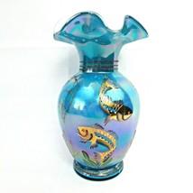 Fenton Designer Showcase Series IRIDESCENT Turquoise Fish Vase Koi Seaho... - $133.65