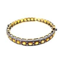 Sapphire Gemstone Pave Diamond 14k Gold Bangle Bracelet 925 Silver Women... - $1,153.75