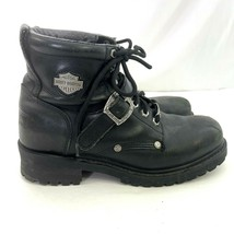 Harley Davidson Mens Black Leather Boots Size 9 Stock No 91026 Buckle Low - $44.55