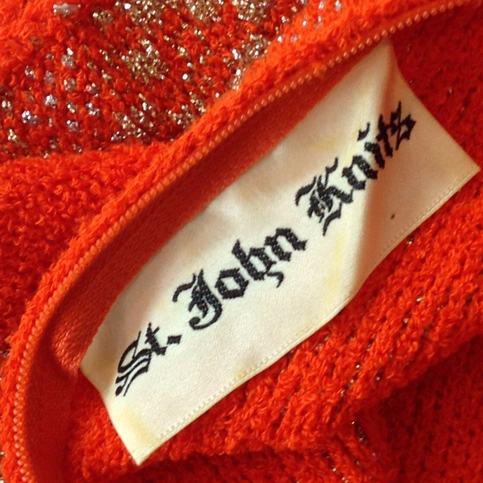Vtg St John Knits Wiggle Groovy Hostess Sweater Dress Orange Gold Metallic M image 5