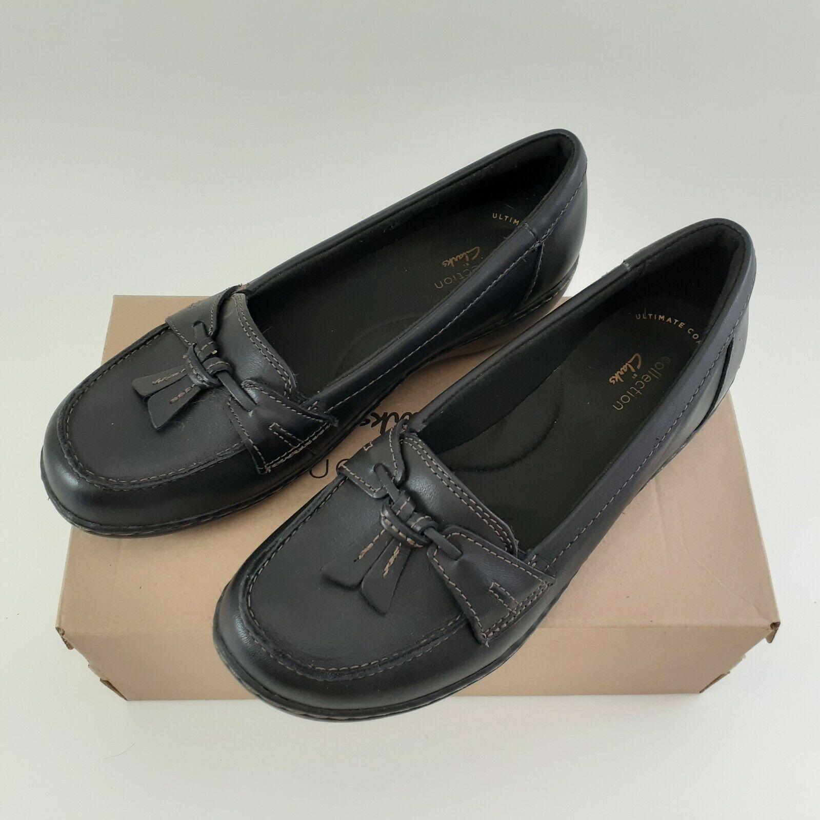 CLARKS Womens Ashland Bubble Slip-On Loafer- Black Sz 7M