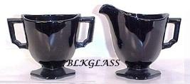 Fostoria Black Glass Mini Creamer And Sugar Set, Mayfair Pattern Individ... - $24.99