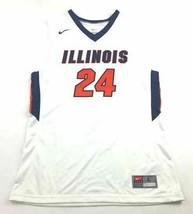 Nike Illinois Fighting Illini Team Emerge Jersey #24 Men's L White 68332... - $27.23