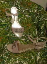 IMPO GRANDE WOMEN'S TAUPE TEXTILE UPPER SANDALS SILVER METAL ACCENT WEDG... - $19.79
