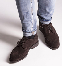 Handmade Men's Chocolate Brown Wing Tip Brogues Lace Up Dress Suede Oxford Shoes image 3