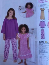 Simplicity Sewing Pattern 1722 Girls Child Lounge Dress Top Pants Size 7... - $14.77