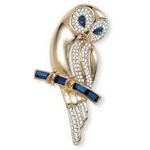PalmBeach Jewelry Blue and Clear Crystal Owl Pin in Yellow Gold Tone - $19.59