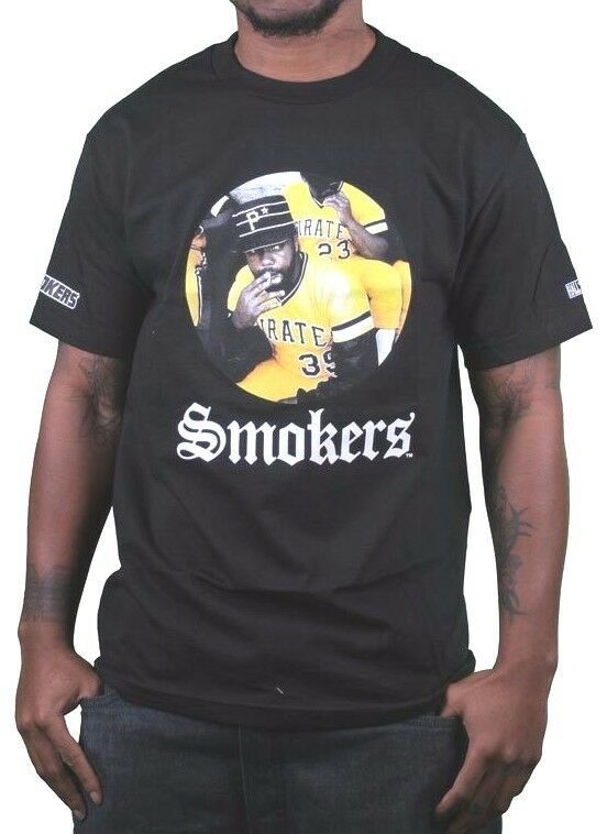 Hall of Fame Pittsburgh Pirates Weed Smoker T-Shirt Black Graphic Cotton Tee