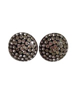 Vintage Retro Black Plastic Round Rhinestone Bling Screw Back Earrings 309 - $17.81