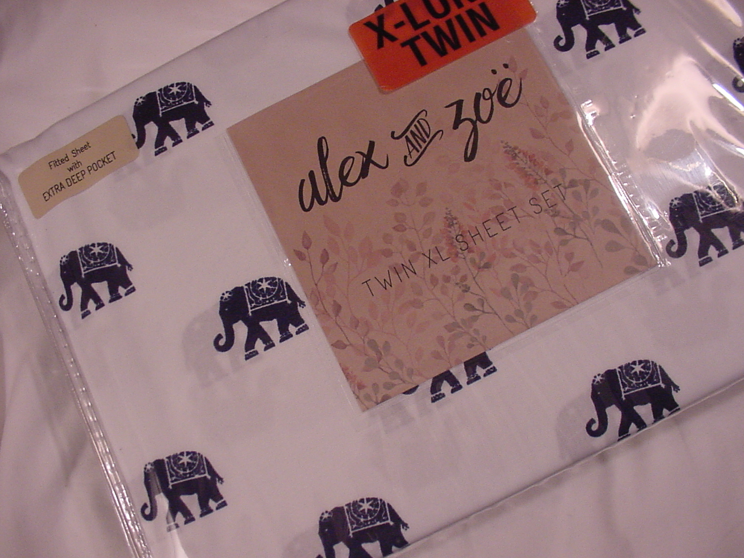 Alex and Zoe Navy Elephants on White Microfiber Sheet Set Twin XL
