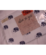 Alex and Zoe Navy Elephants on White Microfiber Sheet Set Twin XL - $37.00