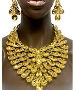 Luxurious Citrine Yellow Crystals Statement Bib Necklace Earring Set Dra... - $87.40