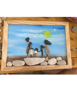 Pebble Painting, Pebble Art, Wall Painting, Wall Art, Family Painting, Gift - $39.50