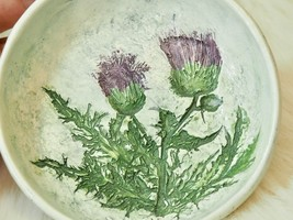"Salt Marsh Pottery THISTLE  Trinket Dish/Small Bowl Dartmouth, MA 4.25"" ... - $29.69"