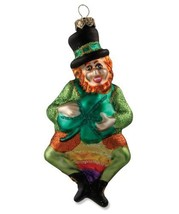 LEPRECHAUN Glass Ornament St Patrick's Day Bethany Lowe NEW Glitter Accents