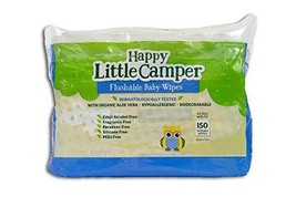 An item in the Baby category: Happy Little Camper Flushable Baby Wipes with Organic Aloe, Septic Safe, 150Coun
