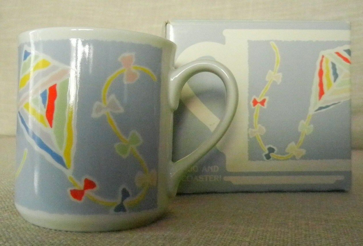Primary image for Vintage 1985 Hallmark Coffee Mug Kites Spring Fever New in Box but No Coaster
