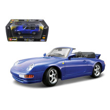 Porsche 911 Carrera Cabriolet Blue 1/24 Diecast Model Car by Bburago 220... - $31.20