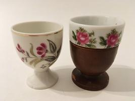 Egg Cups Floral Pink Green White Ceramic Pottery Brown Wood Vintage Set ... - $29.00