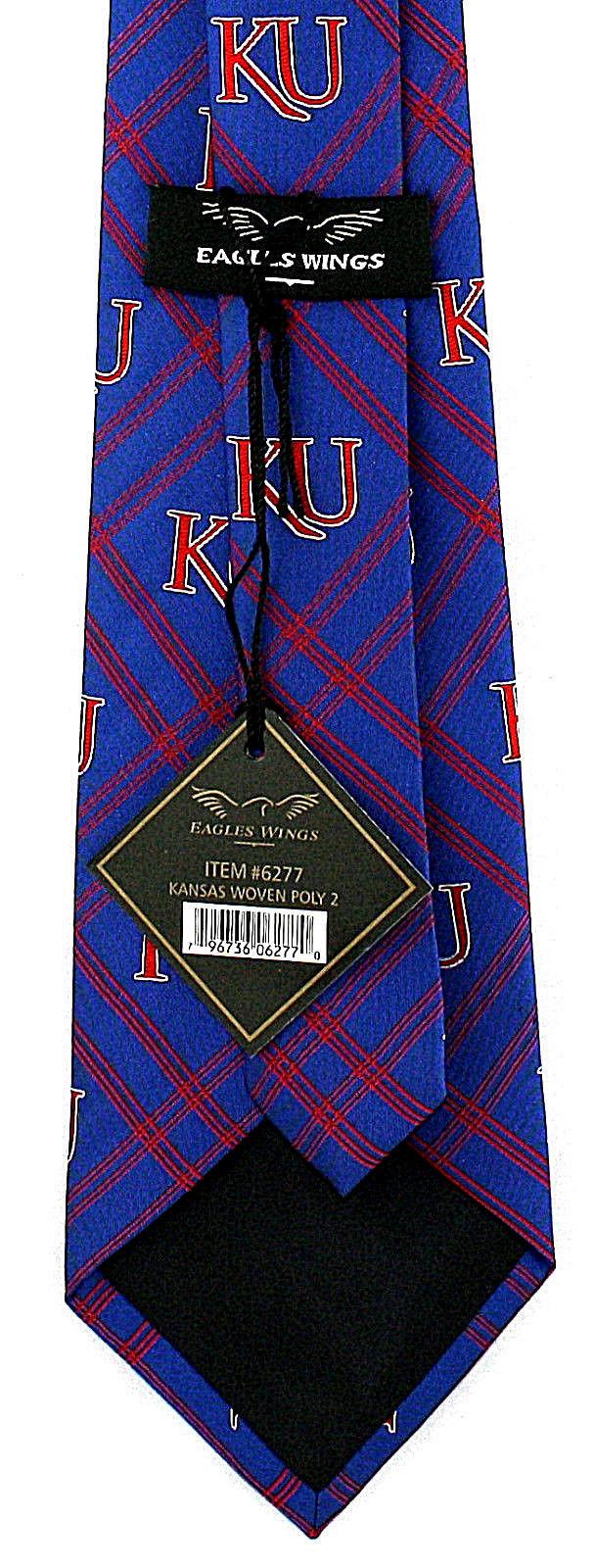 Kansas Jayhawks Diamond Men's Necktie University College X Logo Blue Neck Tie image 2