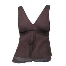 J.Crew Womens Brown V-Neck Empire Waist Sleeveless Silk Blouse Tank Top ... - $17.82