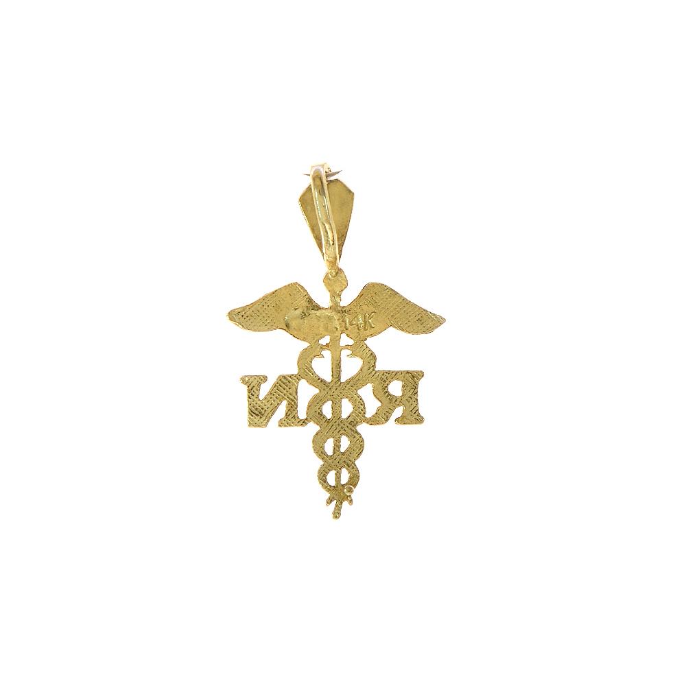 14k Yellow Gold Registered Nurse Charm