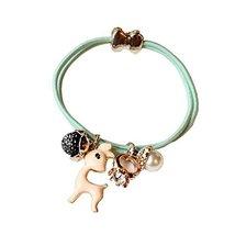 Set of 4 Beads Diamond Flower Deer Hair Rope Ponytail Holders, Light Green