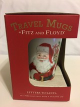 """Fitz and Floyd """"Letters to Santa"""" 12oz Porcelain Travel Mug with Silicon... - $19.79"""
