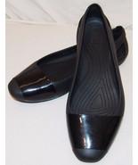 Crocs Womens Shoes 9 Classic Black Square Toe Shiny Strip Slip On - $31.72
